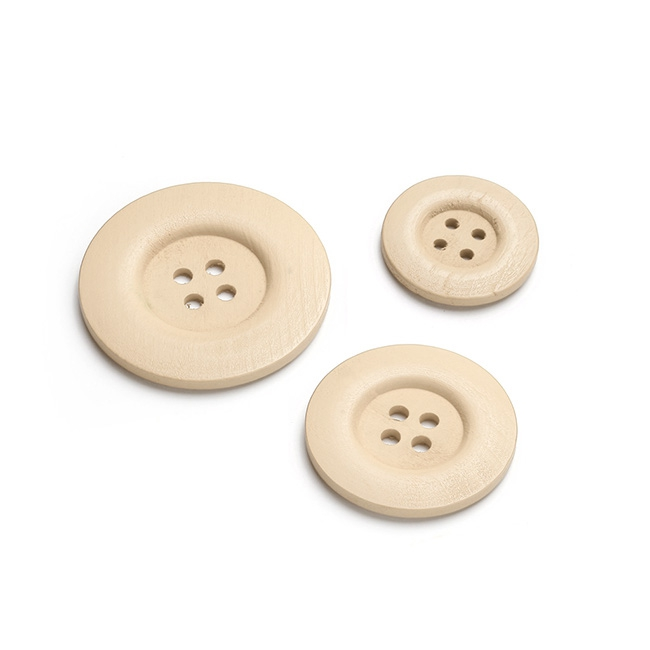 Button Decorations 6 Pack Natural (Mixed Sizes)