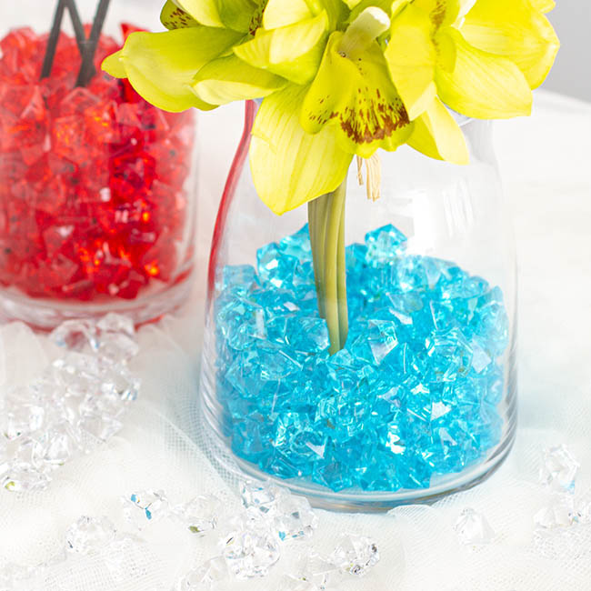 Acrylic Rocks & Scatters - Acrylic Rock Crystal Scatters Blue (15x25mm) 400g Jar