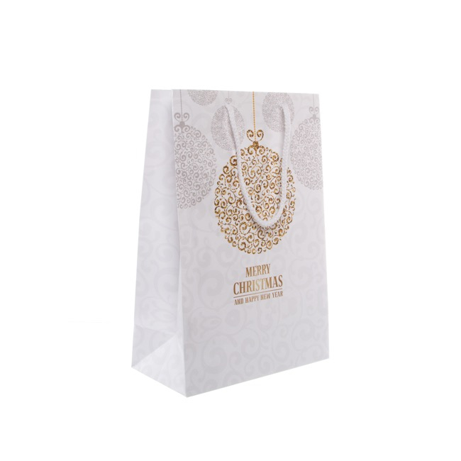 Paper Bag Glamour Bauble 5 Pack Gold (240Wx120Gx355mmH)