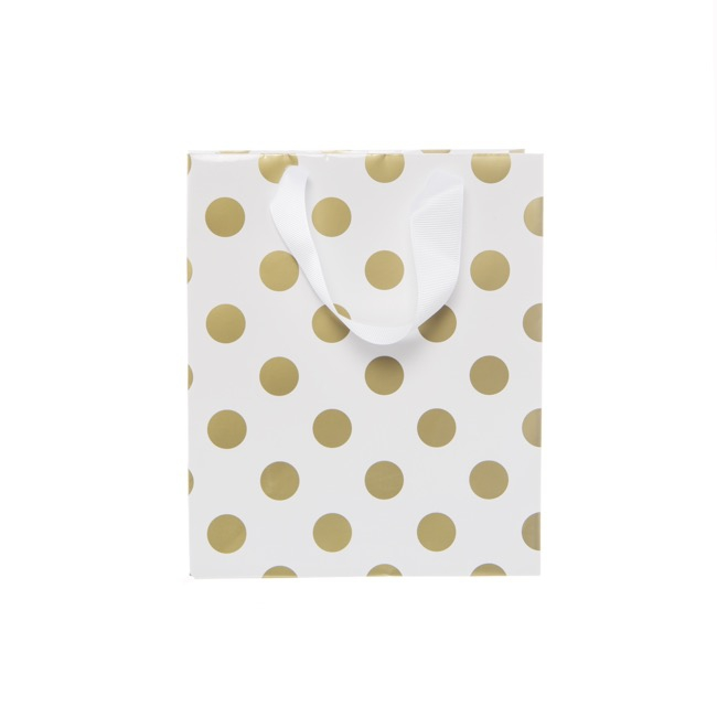 Glossy Gift Carry Bags - Paper Bag Bold Dots Small Gold (180Wx85Gx215mmH) Pack 5