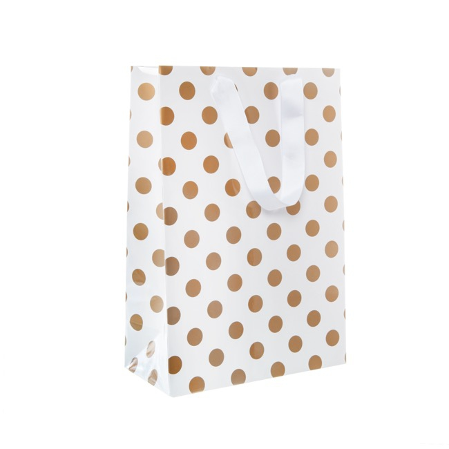 Paper Bag Bold Dots Pack 5 Large Copper (240Wx120Gx355mmH)
