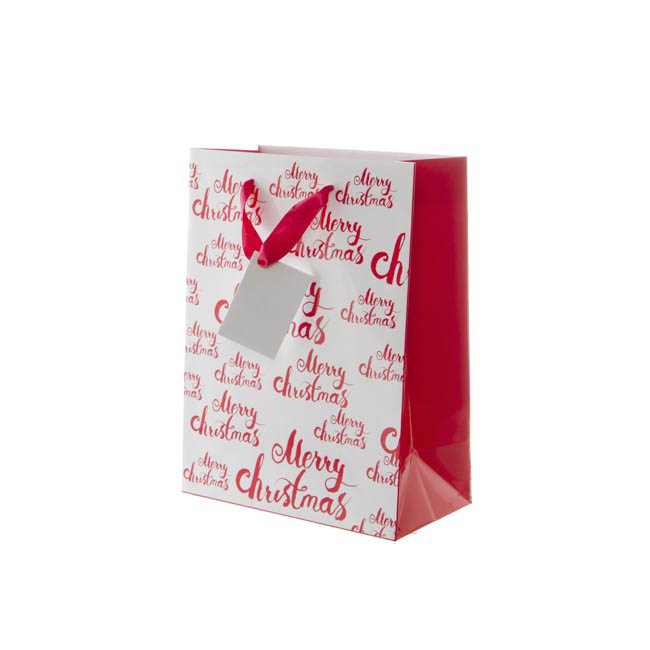 Gloss Paper Bag Merry Christmas 5Pack Red (205x110x275mmH)
