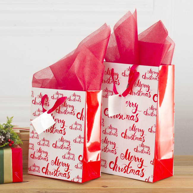 Glossy Gift Carry Bags - Gloss Paper Bag Merry Christmas 5Pack Red (205x110x275mmH)