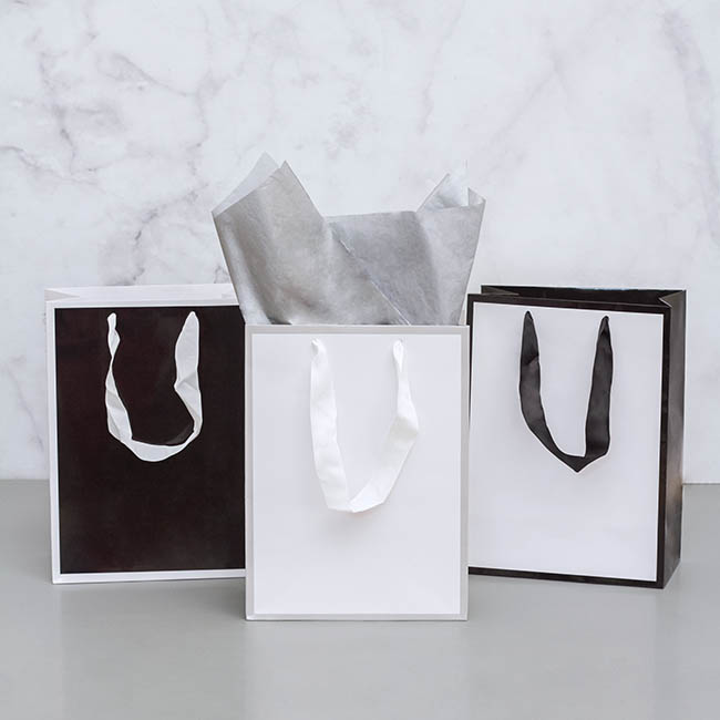 Glossy Gift Carry Bags - Gloss Paper Bag Silhouette White Black(240x120x355mmH)Pack 5