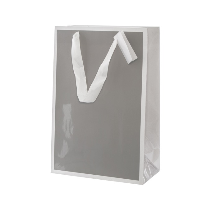 Glossy Gift Carry Bags - Gloss Paper Bag Silhouette White Grey(240x120x355mmH) Pack 5