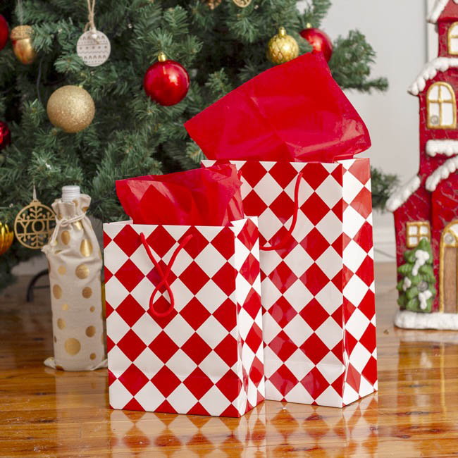 Glossy Gift Carry Bags - Gloss Paper Bag Checker White Red (205x110x275mmH) Pack 5