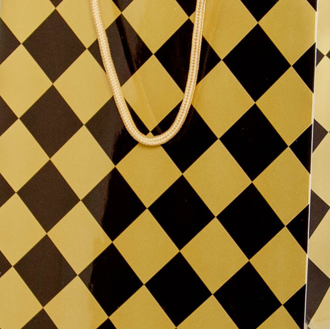 Glossy Gift Carry Bags - Gloss Paper Bag Checker Black Gold Pack 5 (240x120x355mmH)