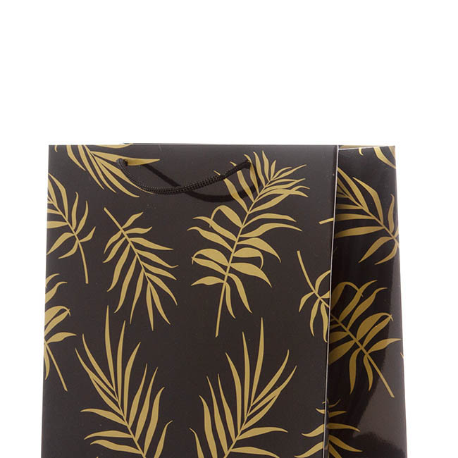 Glossy Gift Carry Bags - Gloss Paper Bag Med Leaf Black Gold Pack 5 (205x110x275mmH)
