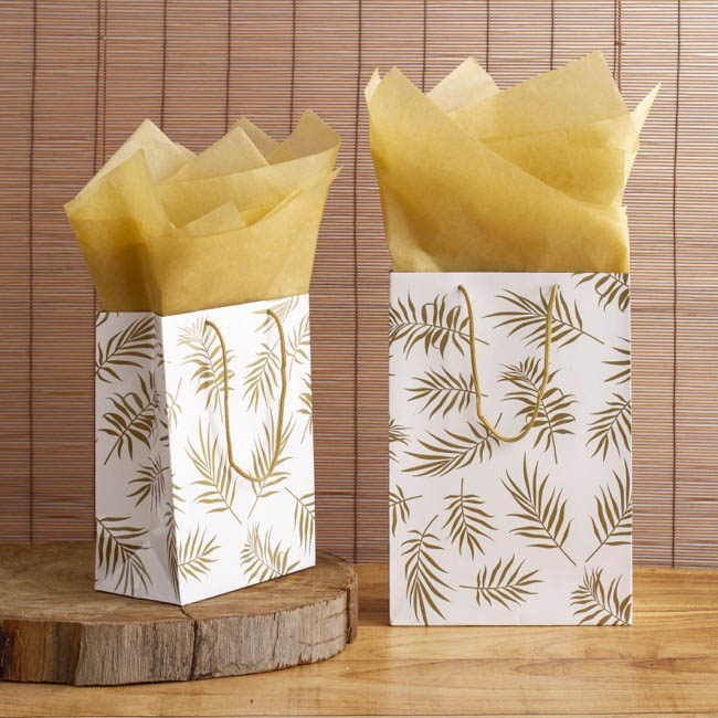 Glossy Gift Carry Bags - Gloss Paper Bag Med Leaf White Gold (205x110x275mmH) Pack 5