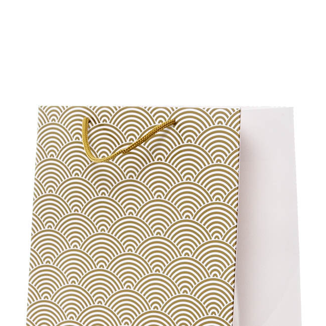 Glossy Gift Carry Bags - Gloss Paper Bag Med Scallop Gold Pack 5 (205x110x275mmH)