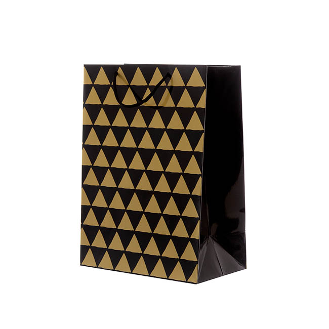Glossy Gift Carry Bags - Gloss Paper Bag Large Geo Black (240x120x355mmH) Pack 5