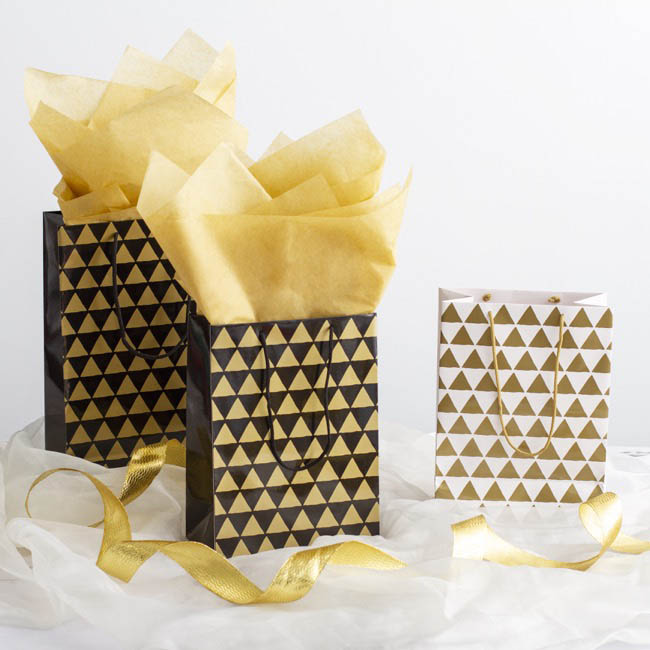 Glossy Gift Carry Bags - Gloss Paper Bag Large Geo Gold Pack 5 (240x120x355mmH)