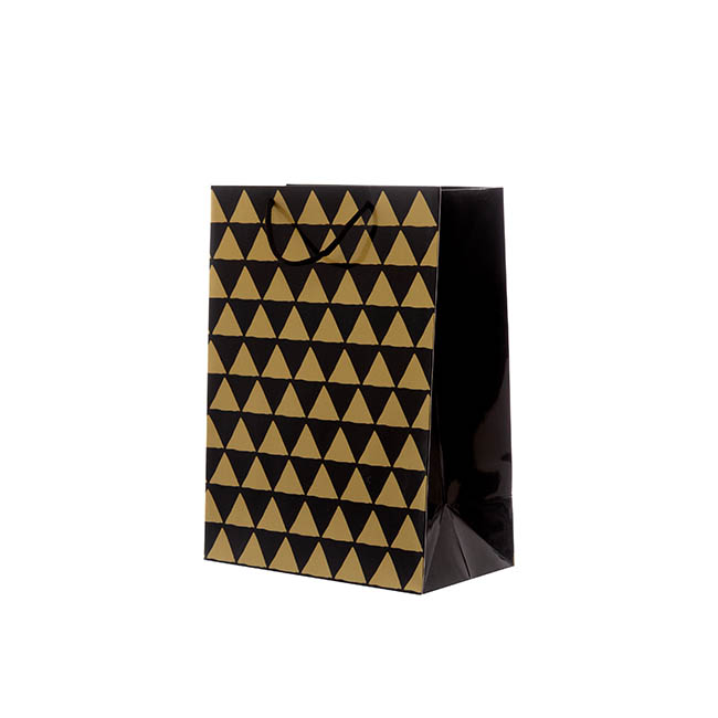 Glossy Gift Carry Bags - Gloss Paper Bag Med Geo Black (205x110x275mmH) Pack 5