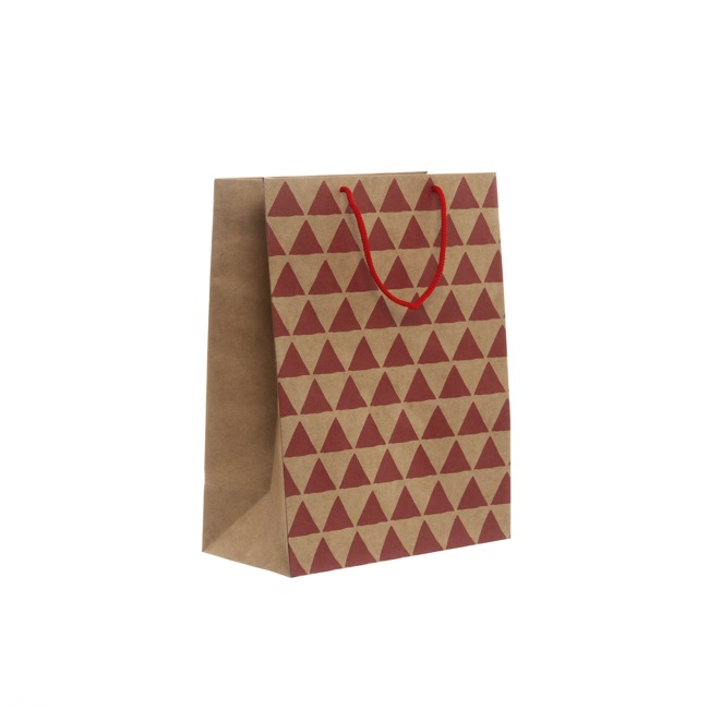 Kraft Paper Carry Bags - Kraft Paper Bag Med Geo Red (205x110x275mmH) Pack 5