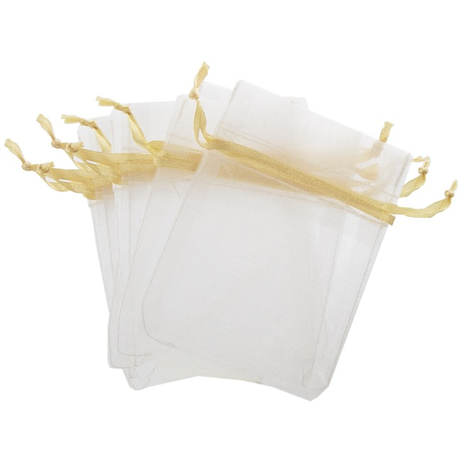 Organza Bags - Organza Bag Small White & Gold (7.5x10cmH) Pack 10