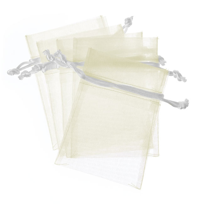 Organza Bags - Organza Bag Small White (7.5x10cmH) Pack 10