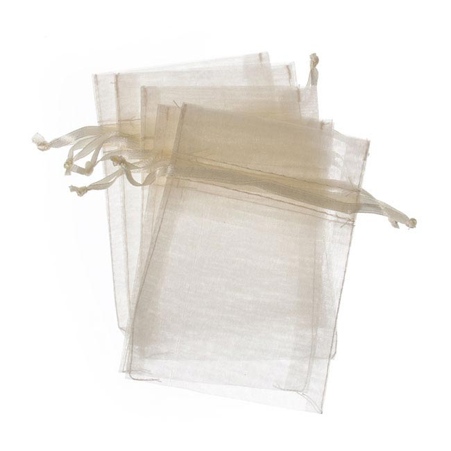 Organza Bags - Organza Bag Medium Ivory (12.5x17cmH) Pack 10