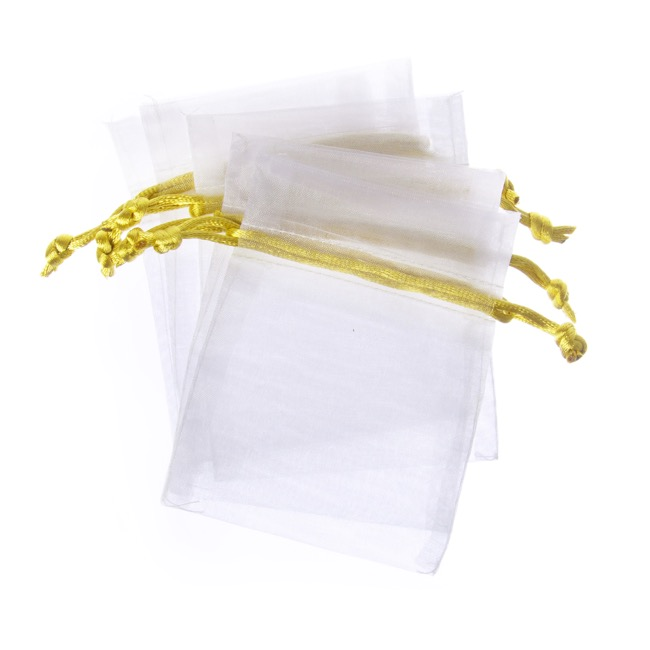 Organza Bags - Organza Bag Medium Metallic White&Gold (12.5x17cmH) Pack 10
