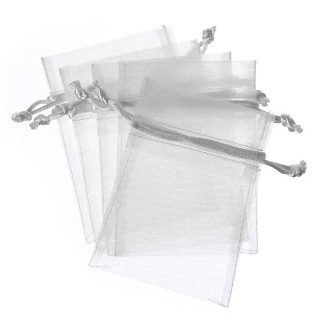 Organza Bags - Organza Bag Medium Silver (12.5x17cmH) Pack 10