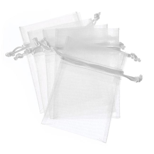 Organza Bags - Organza Bag Medium White (12.5x17cmH) Pack 10
