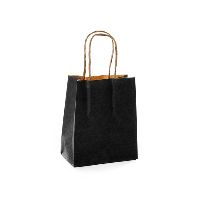 Kraft Paper Carry Bags - Kraft Paper Bag Shopper Extra Small Black (140Wx75Gx165mmH)