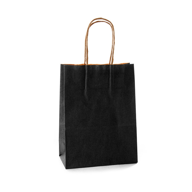 Black Kraft Paper Bag Small 150wx80gx200mmh