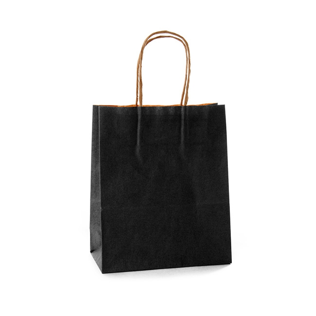 Kraft Paper Carry Bags - Kraft Paper Bag Shopper Medium Black (180Wx85Gx215mmH)