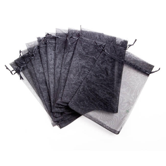 Organza Bags - Organza Bag Large Black (15x24cmH) Pack 10