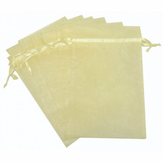 Organza Bag Large 10 Pack Ivory (15x24cmH)
