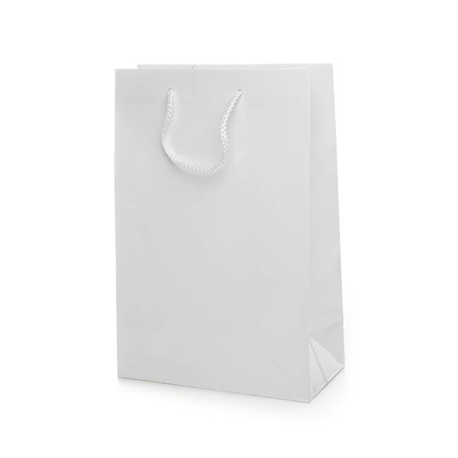 Gloss White Paper Bag Rope Handle (240Wx120Gx355mmH)