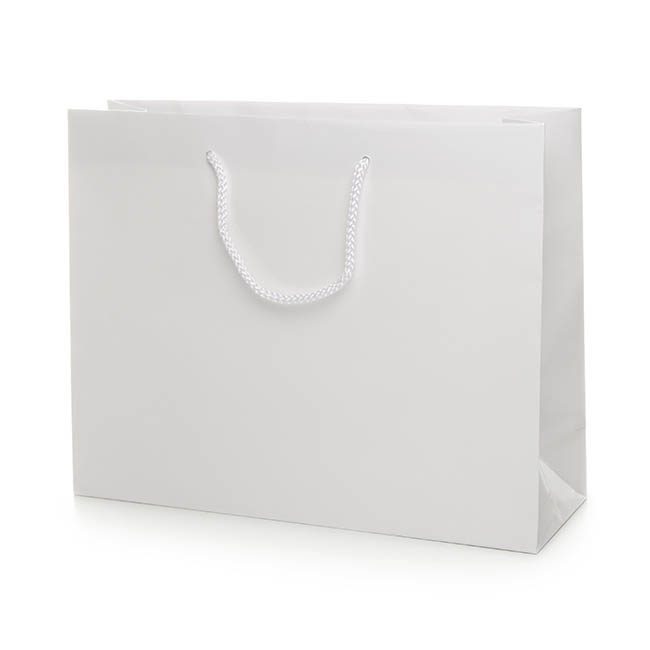 Glossy Gift Carry Bags - Paper Bag Gloss Boutique Extra Large White(380Wx120Gx300mmH)