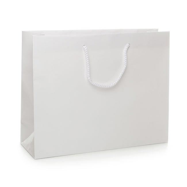Glossy Gift Carry Bags - Paper Bag Matte Boutique White (380Wx120Gx300mmH)