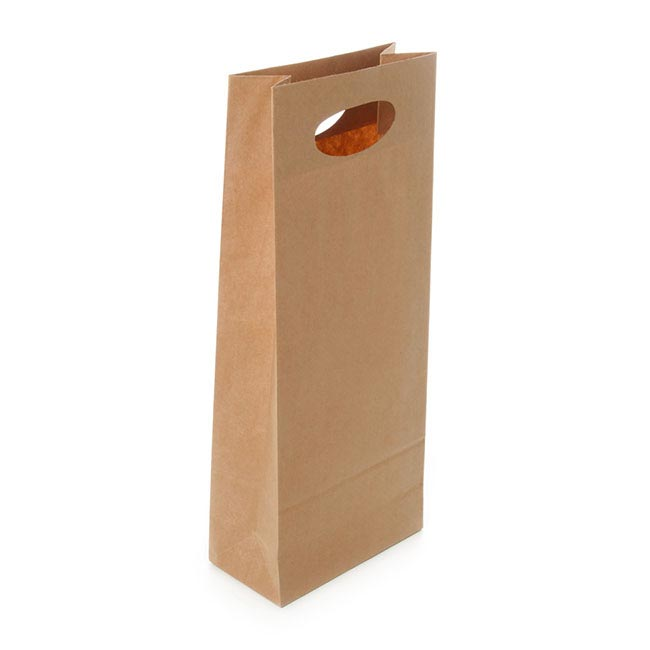 Wine Gift Bags - Wine Bag Two Bottles Kraft Paper Natural (17Wx9Gx42cmH)