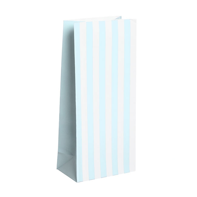 Party & Food Bags - Lolly Bag Large Stripes Baby Blue (10Wx6Gx22.5cmH) Pack 25