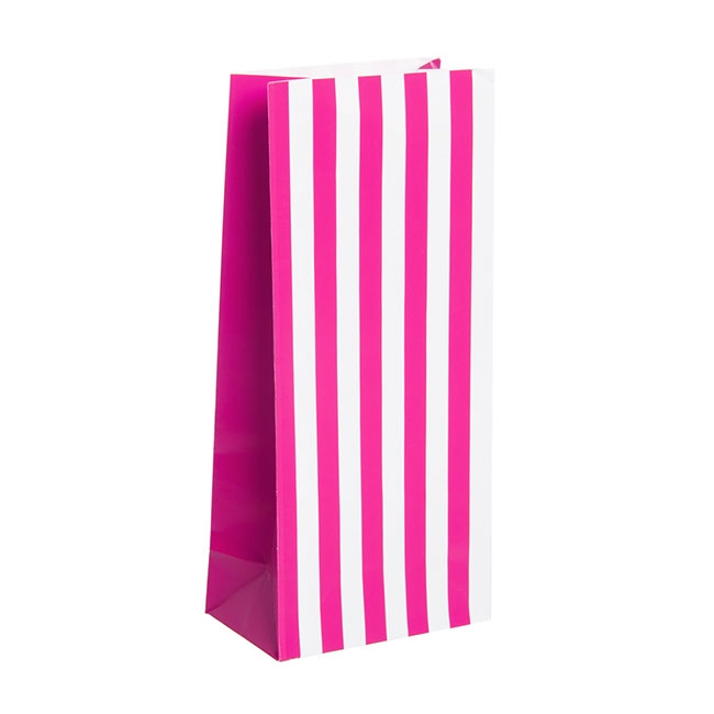 Party & Food Bags - Lolly Bag Large Stripes Hot Pink (10Wx6Gx22.5cmH) Pack 25