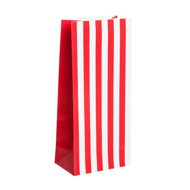 Party & Food Bags - Lolly Bag Large Stripes Red (10Wx6Gx22.5cmH) Pack 25