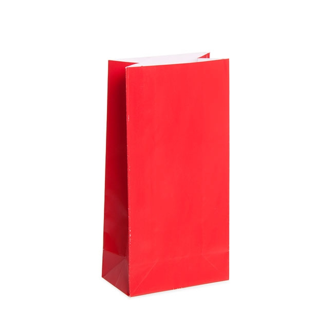 Party & Food Bags - Lolly Bag Small Red (9Wx5Gx18cmH) Pack 25