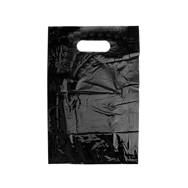 Gloss Plastic Bag Die Cut Handle Small Black (380mmHx250)