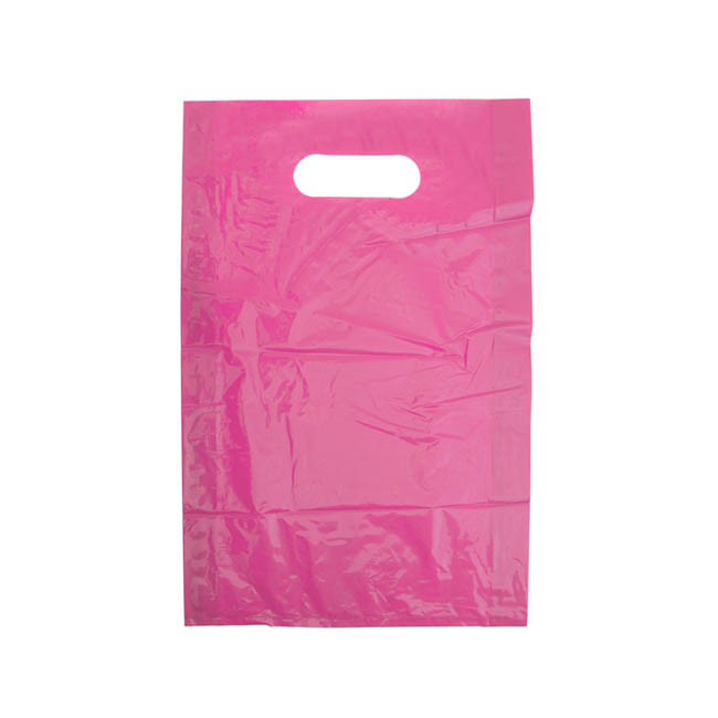 Gloss Plastic Bag Die Cut Handle Small Pink (250x380mmH)