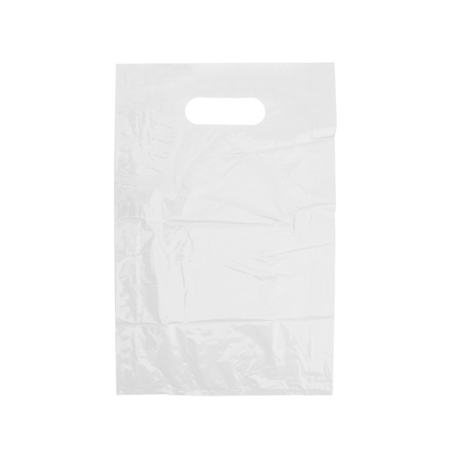 Plastic Checkout Carry Bags - Gloss Plastic Checkout Bag Small White (250x380mmH)