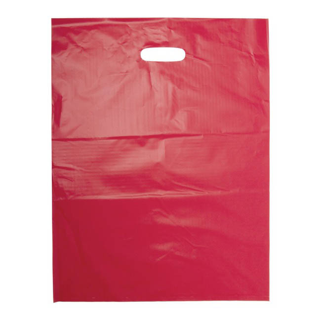 Plastic Checkout Carry Bags - Plastic Bag Economy Checkout Bag Red (415x530mmH) Pack 25