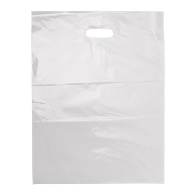 Plastic Gift Carry Bags - Plastic Bag Economy Checkout Bag White 25 Pack(415x530mmH)