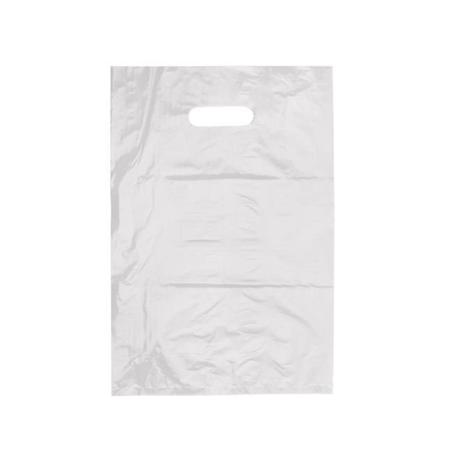 Plastic Gift Carry Bags - Plastic Bag Economy Checkout Bag White 25 Pack (255x380mmH)