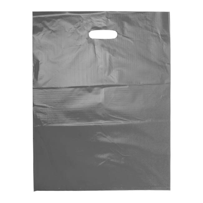 Plastic Bag Economy Die Cut Handle Silver 530Hx415mmW Large