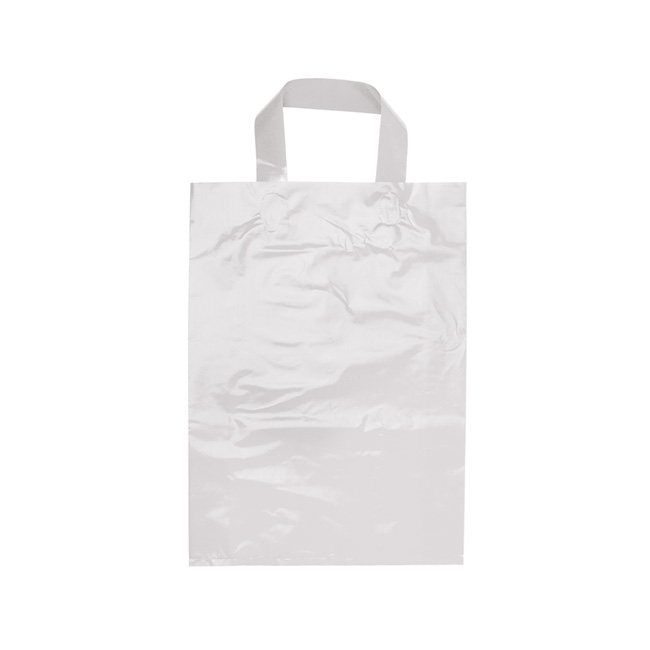 Plastic Checkout Carry Bags - Plastic Checkout Bag Loop Handle Sml White (250Wx350mmHx80G)