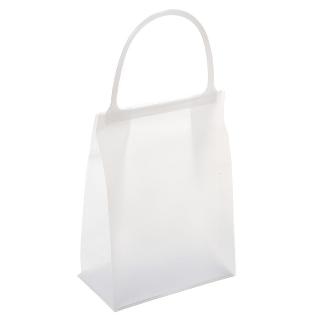 Plastic Checkout Carry Bags - Plastic Bag Frosted Snap Lock Handle White (15Wx8Gx20cmH)