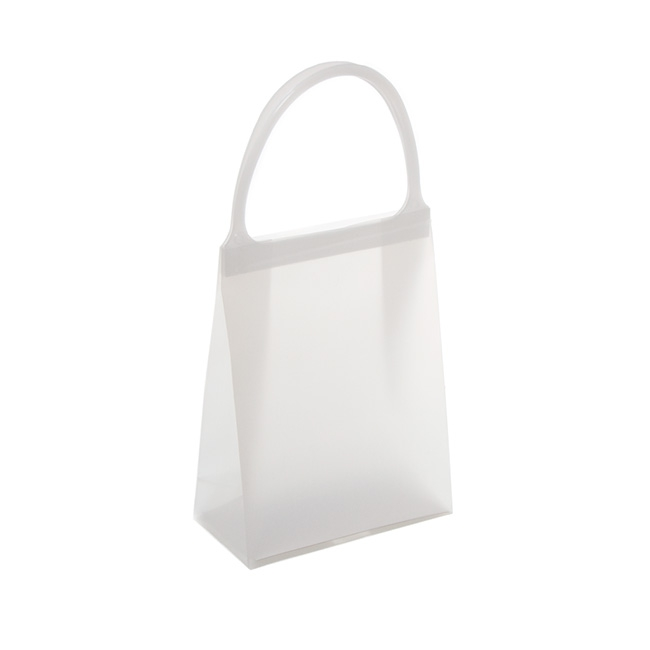 Plastic Checkout Carry Bags - Plastic Bag Frosted Snap Lock Handle White (11Wx5.5Gx14cmH)