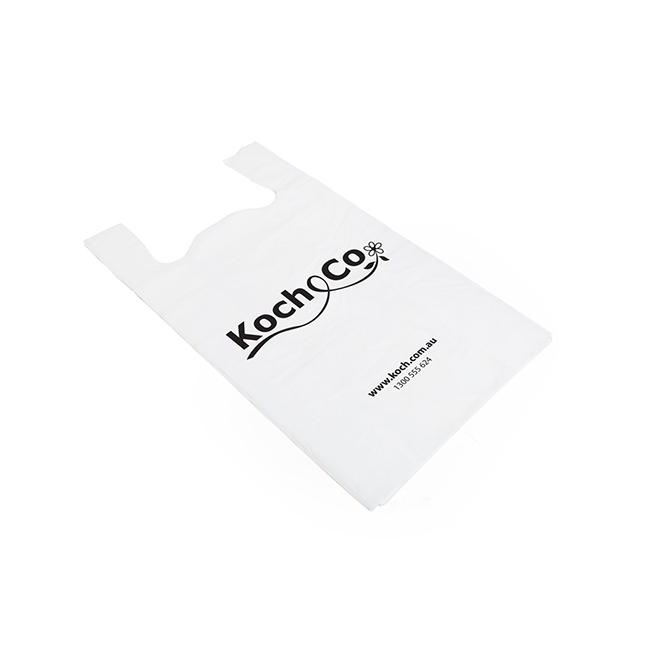 Plastic Checkout Carry Bags - Koch Checkout Bag Singlet Large White(40Wx20Gx55cmH)100 Pack