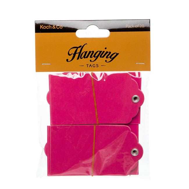 Hanging Gift Tags 5x9cmH Pack 20 Hot Pink