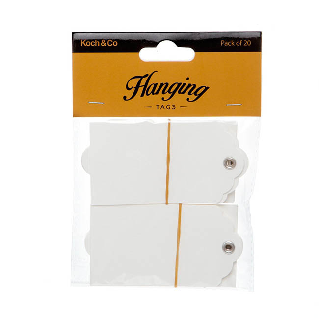 Hanging Gift Tags 5x9cmH Pack 20 White Kraft